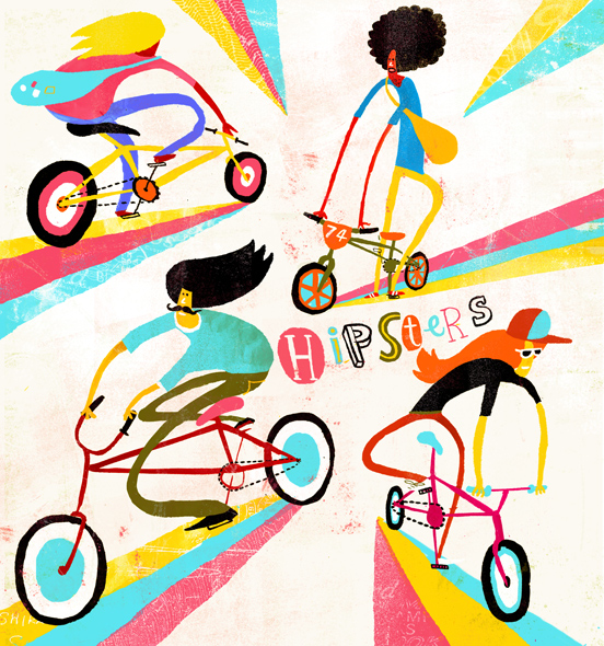 Hipsters-on-bikes-illustration