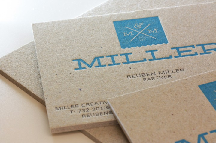 Reubenmiller messages printed on edge of business cards heres a look at miller creatives brand spanking new business card design they are printed on bend proof 98pt gray coverboard recycled paper reheart Images